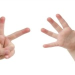 Little child hand with Seven finger on white background