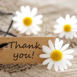 natural looking label with thank you